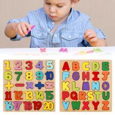 Wooden Puzzle Educational Toys Kids Blocks Jigsaw Alphabet Letters Animal DIY Z