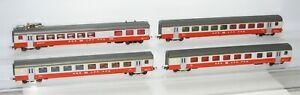 Liliput H0 88450 88550 88650 88750 4 x Personenwagen Swiss Express der SBB FT618