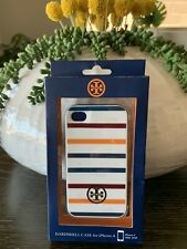 NEW!  TORY BURCH White  CLASSIC STRIPED IPHONE 4 4S HARDSHELL CASE