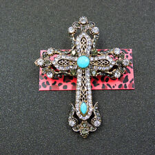 Charm Woman's Brooch Pin Gift Fashion Green Crystal Cross Betsey Johnson