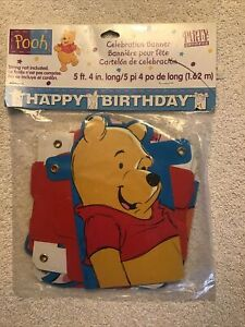 NEW Hallmark Happy Birthday Party Banner Winnie the Pooh Piglet Tigger Kids