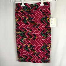 NEW LulaRoe Cassie Fuchsia Multi Color Geometric Stretchy Pencil Skirt Sz Small