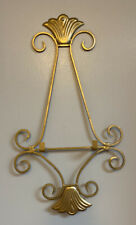 Vintage Gold Plate Rack Display, Hanging Wall Decor, Metal