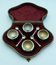 More details for 4 cased victorian solid silver salts and spoons