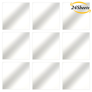 24 Flexible Mirror Sheets Wall Stickers Self Adhesive Peel Off Plastic Tiles