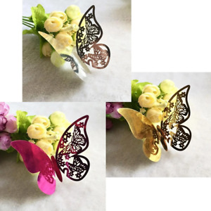 25pcs Name Cards for Wine Glass Weddings Butterfly Laser Cut Paper Place Card
