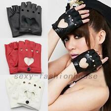 Fashion Half Finger Driving Dance Women PU Leather Fingerless Gloves SF