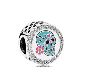 UK PANDORA Genuine Day Of The Dead Sugar Skull Charm, Blue & Pink w/ Pouch