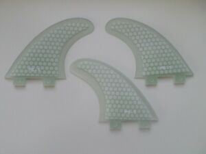 PERFORMANCE CORE surfboard THRUSTER FINS clear (set x 3) hexcore FCS compatible