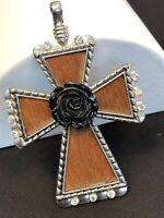 Vintage Aurora Borealis Crystal Cow Hair Silver Large Cross Necklace Enhancer