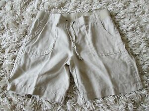 Athleta Womens Linen Draw String oatmeal Summer Shorts Pants Size 12