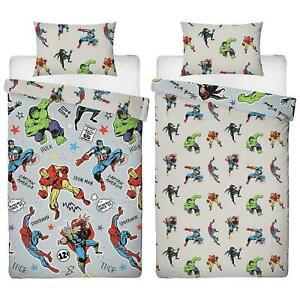 Marvel Comics Print Grey Reversible Single Bedding Children Kids Duvet Cover Set