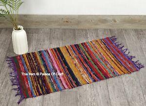 "Indian Handmade Chindi Rag Rug Home Floor Decor Runner Cotton Yoga Mat 2"" x 3""In"