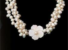 "3 ROW"" 7-8MM AUSTRALIAN SOUTH SEA WHITE BAROQUE PEARL NECKLACE DA91"