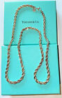 TIFFANY AND CO STERLING SILVER AND 18K GOLD ROPE CHAIN 24 inches