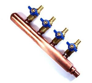 4 port PEX Plumbing Manifold 3/4 Male 1/2 Ball Valve close end barbed end