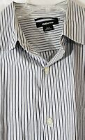 Men's Claiborne 2XLT Long Sleeve Shirt Striped Button Navy Blue and Gray Cotton