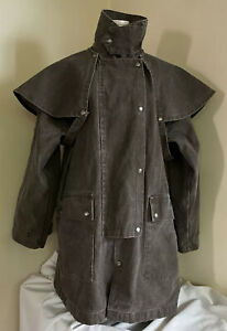 Vtg THE AUSTRALIAN OUTBACK COLLECTION Brown Canvas Duster Drover Coat Small USA