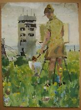 Russian Ukrainian Oil Painting Impressionism open-air girl