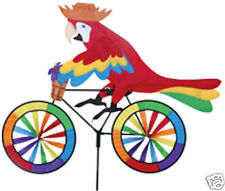 Parrot on a Bicycle Staked Wind Spinner with Pole & Mount..24....PR 25994