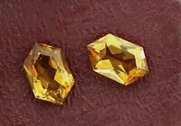 ONE 10 x 6.5 Fancy Tapered Hexagon Marquise Custom Fancy Cut  Madeira Citrine