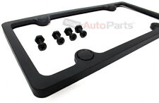 Matte Black Plastic ABS License Plate Frame/Bolts/Caps Kit for Auto-Car-Truck