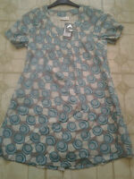 Adini 100% Cotton voile short sleeve tunic top fully lined pintucking detailXS/S