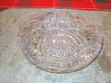 VINTAGE  CUT GLASS  BOWL  7 '' X  7'    WITH   DESIGN  CLEAR