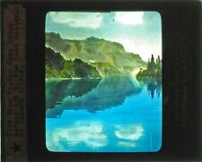 PHOTO ON GLASS HAND COLORED VIEW FROM CRATER LAKE LODGE