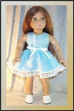 """Doll Clothes Made2Fit American Girl 18"""" inch Dress Blue w/Whit Dots Ribbon Belt"""