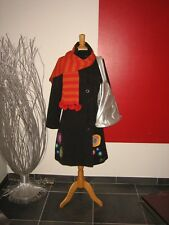 MANTEAU BRODé EMBROIDERED COAT DESIGUAL T 42 UK 14 + ECHARPE SCARF + SAC BAG