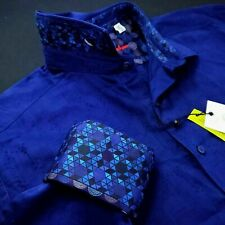 ROBERT GRAHAM Geometric Diamond Cuffs Navy Blue Sports Shirt XL $199