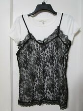 NWT MAURICES WHITE with BLACK Lace Over Blouse Size Medium - MSRP $32