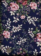 Very Nice Floral Print peach tan cream green lavender on drk navy blue Fabric