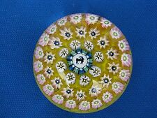 """JOHN DEACONS CONCENTRIC MULTI  MILLEFIORI RAM PAPERWEIGHT: Yellow Core, 2"""",w.Tag"""