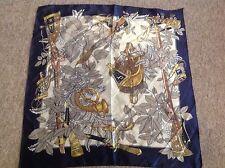 Vintage blue faux silk handmade scarf hunting scene saddle bag & horns DEADSTOCK