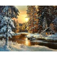 Canvas Wall Village Snow DIY Painting By Numbers Acrylic Picture For Home Decor