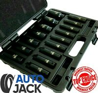 "1/2"" Drive Metric Deep Impact Socket Set 16 Piece 10-32mm in Case Garage Quality"