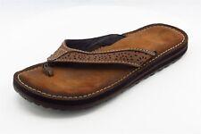 Clarks Flip Flops Brown Leather Women Shoes Size 9 Medium (B, M)