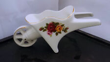 SMALL CHINA POSY VASE SHAPED AS A WHEELBARROW  COTTAGE ROSE PATTERN  NO MAKER