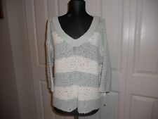 NWT FREE PEOPLE PARK SLOPE STRIPE SWEATER IN MINT/IVORY  SIZE SMALL