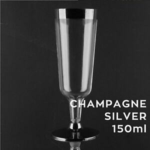SILVER RIM CHAMPAGNE PLASTIC GLASSES  Clear Disposable Cup Flutes Glass  - 150ml