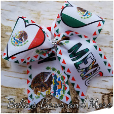 I LOVE Mexico...Mexican Princess Handmade GLITTER FINISH Cheer style Hair Bow
