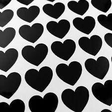50 Black Vinyl Love Heart Stickers 15mm