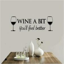 Wine A Bit Kitchen Wall Art Sticker Quote Decal Vinyl Dining Cafe Decor Family