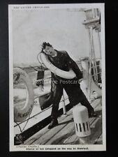 Charlie Chaplin AT SEA ON THE WAY TO AMERICA Red Letter Photocard c1915 C.262996