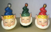 Set of 3 WHIMSICAL HAND-PAINTED CERAMIC CHRISTMAS ELF ELVES GNOMES MISCHIEF