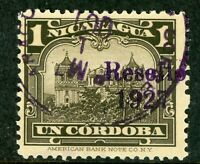Nicaragua 1927 Cathedral Provisional 1 Cordoba Brn Blk w/Ditto Ink VFU V399 ⭐