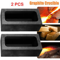 2X 85oz Large Graphite Ingot Mold Melting Casting Refining Scrap Bar Crucible BE