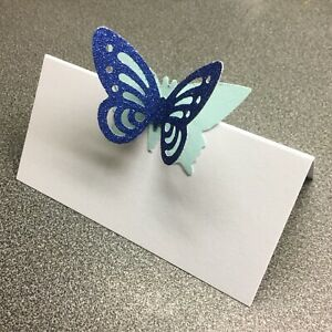 10 White Name Place Cards With A Blue Glitter Butterfly